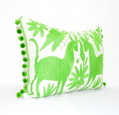 Otomi Pillow Cover - Otomi Pillow Cover, Bright Green Mexican Embroidered Cushion Cover, Bohemian Decor