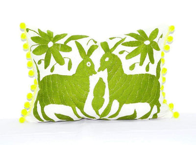 Otomi Pillow Cover - Otomi Pillow Cover, Colorful Mexican Embroidered Cushion Cover, Bohemian Decor