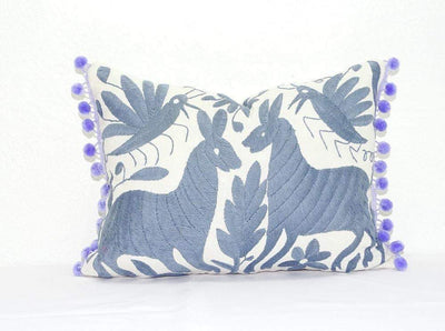 Otomi Pillow Cover - Otomi Pillow Cover, Mexican Embroidered Cushion Cover, Bohemian Decor