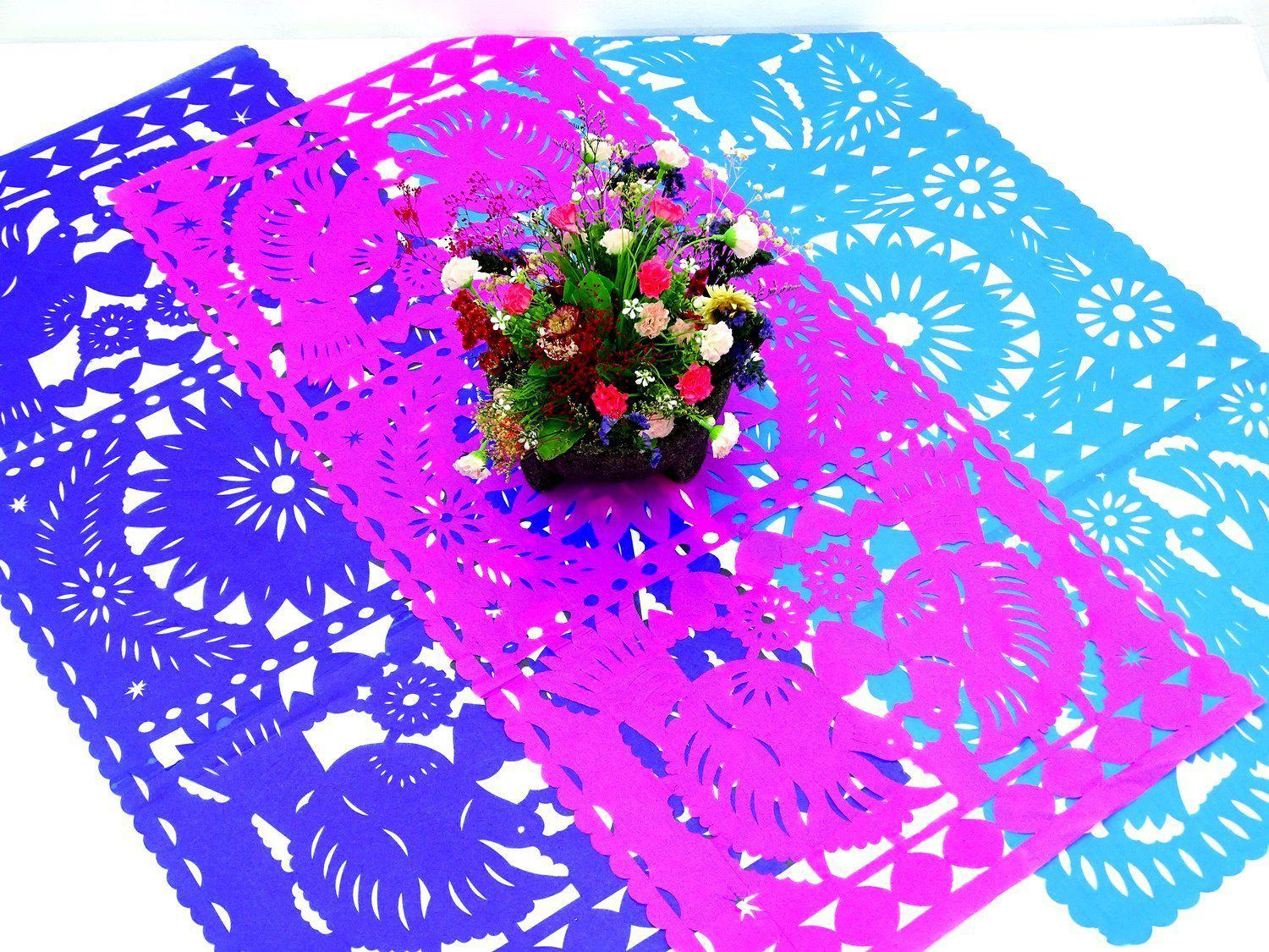 3 Pack Of Papel Picado Mexican Table Runners Mexican Theme Party
