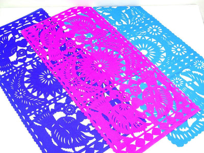 Papel Picado - 3 Pack Of Papel Picado Mexican Table Runners, Mexican Theme Party Decorations, Fiesta Decorations, 20X39 Inches,