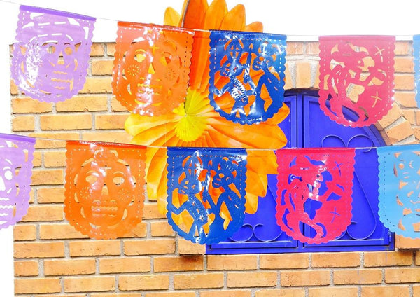 Papel Picado Banners - Dia De Los Muertos Outdoor Decorations, Papel Picado Plastic, Day Of The Dead Party Decor