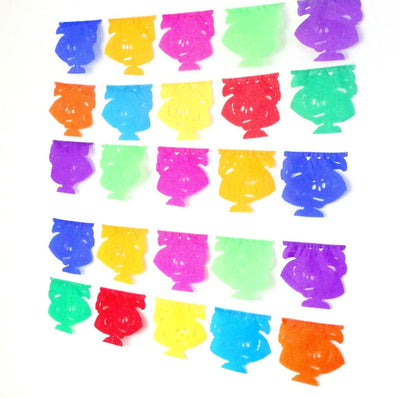 Papel Picado Banners - Five Pack Mini Day Of The Dead Banners, 34 Feet Long, Halloween Garland, Fiesta Backdrop, Dia De Los Muertos, Party Supplies, KATRINA20