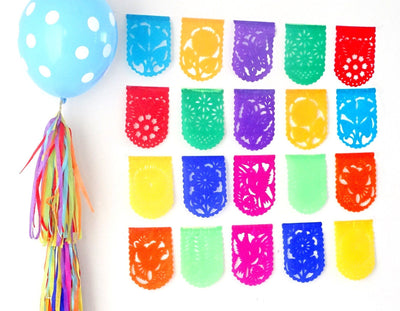 Papel Picado Banners - Five Pack Mini Papel Picado Banners, 25 Feet Long, Fiesta Papel Picado, Fiesta Backdrop, Party Supplies, Mexican Them, Fiesta Party, MINI47