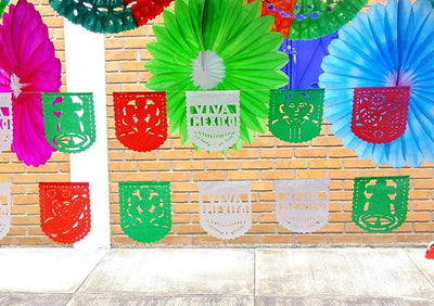 Papel Picado Banners - Mexican Party Decorations, Fiesta Party Banners, Papel Picado Paper Banners, Dia De La Independendecia , Fiestas Patrias