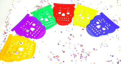 Papel Picado Banners - Mini Paper Mexican Banner 5 Feet Long, Aztec Home Decor, Paper Picado Garland, Fiesta Decoration,FIESTA,Day Of The Dead,Buy One Get One Free. SKULL20