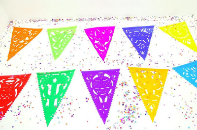 Papel Picado Banners - Mini Paper Mexican Banner, Aztec Home Decor, Paper Picado Garland, Fiesta Decoration, Buy One Get One Free.