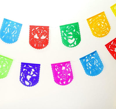 Papel Picado Banners - Papel Picado Dia De Los Muertos, Day Of The Dead Decor, Sugar Skull, Skeleton Decorations