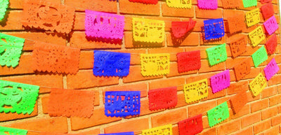 Papel Picado Banners - Papel Picado Medium, Papel Picado For Mexican Party 5 Pack