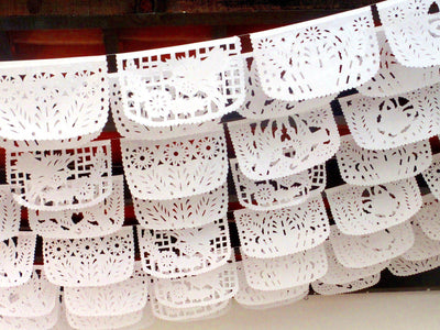Papel Picado Banners - Papel Picado Wedding, ALL White Floral Bunting, White Mexican Banner SB18