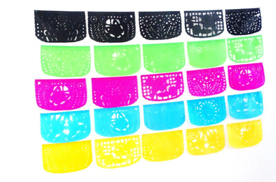 Papel Picado - Cinco De Mayo Flag Banner, Fiesta Decorations Garland, Mexican Party Supplies Over 60 Ft Long, 5 Pack