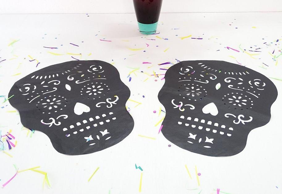 Papel Picado - Dia De Los Muertos Halloween Decorations, Day Of The Dead Decor, Black Paper Skulls 2 Pack