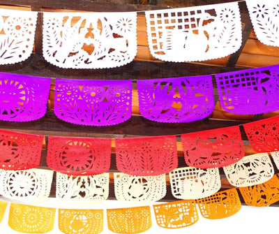 Papel Picado - Fiesta Bridal Shower Banner, 5 Pack Banners, Papel Picado Decor, Fiesta Decorations Garland, Mexican Party Supplies, 60 Feet Long, Fiesta Party Banner