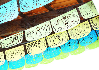 Papel Picado - Mexican Custom Banner, 5 Pack Banners, Fiesta Baby Shower, Fiesta Decorations Garland, Mexican Party Supplies, 60 Feet Long, Fiesta Party Banner