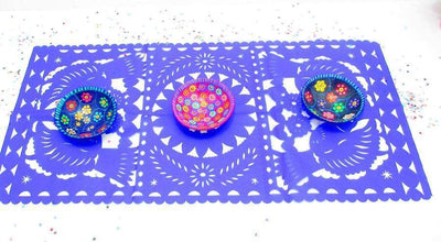 Papel Picado - Mexican Decorations, Blue Table Runner, Papel Picado, Fiesta Decoration, Mexico Table Runner