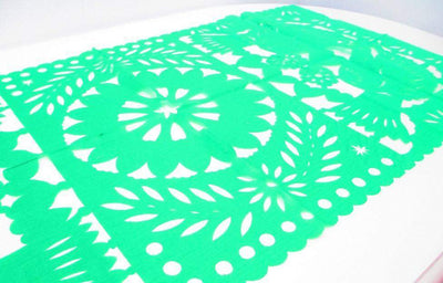 Papel Picado - Mexican Decorations, Green Table Runner, Papel Picado, Fiesta Decoration, Mexico Table Runner