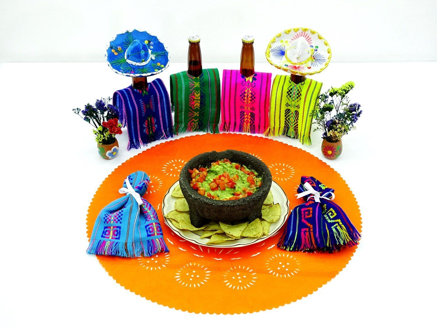 Papel Picado - Mexican Orange Paper Place Mat, Fiesta Decoration, D223