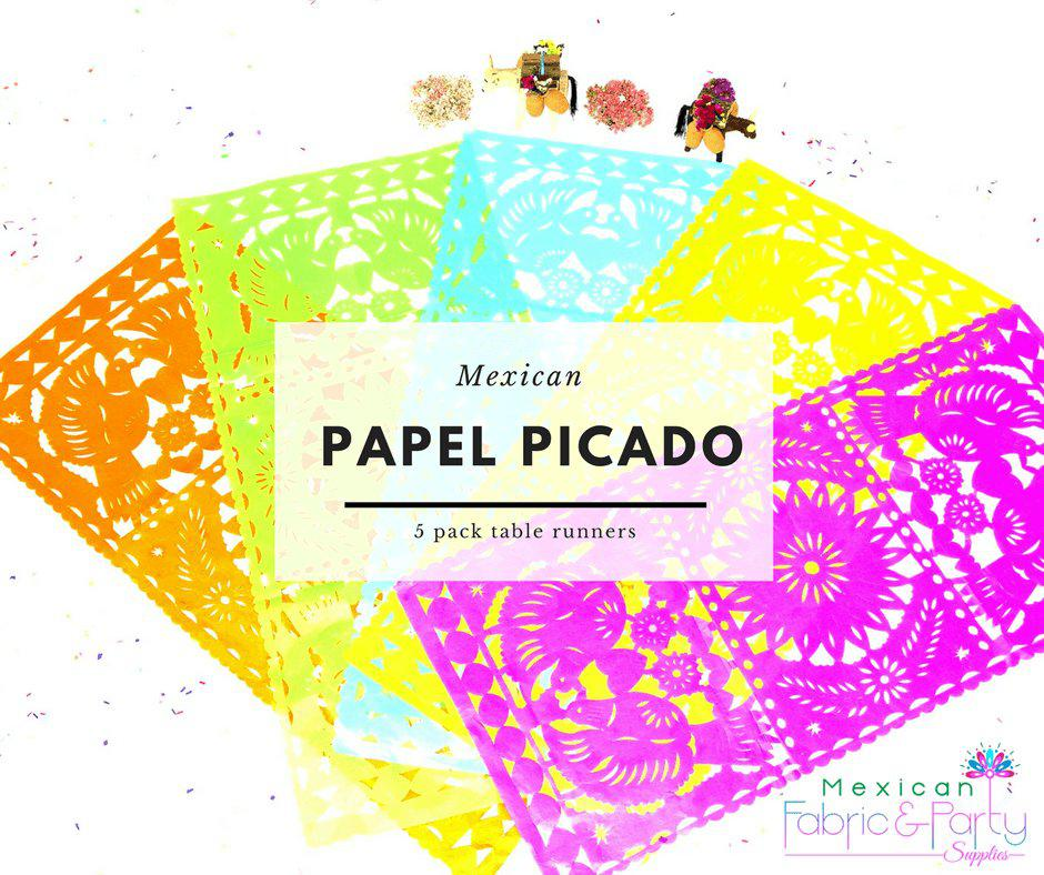 Papel Picado Mexican Table Runners, Mexican Theme Party Decorations, Fiesta Bridal Shower Decor