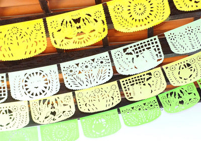 Papel Picado - Mexican Wedding Banner,  4 Pack Banners, Flag Banner, Fiesta Decorations Garland, Mexican Party Supplies, 48 Feet Long, Fiesta Party Banner