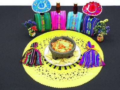 Papel Picado - Mexican Yellow Paper Place Mat, Fiesta Decoration, D384