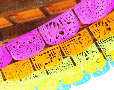 Papel Picado - Papel Picado Bachelorette Party, 5 Pack Banners, Papel Picado Decor, Fiesta Decorations Garland, Mexican Party Supplies, 60 Feet Long, Fiesta Party Banner