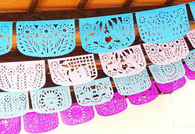 Papel Picado - Pastel Party Banners, 4 Pack Banners, Wedding Decor, Fiesta Decorations Garland, Mexican Party Supplies, 48 Feet Long, Fiesta Party Banner