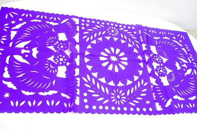 Papel Picado - Purple Mexican Decorations, Papel Picado, Fiesta Party Decor, Mexico Table Runner