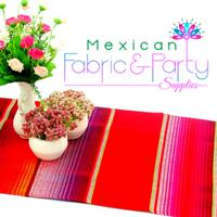 Mexican fabric by the yard - Striped Red
