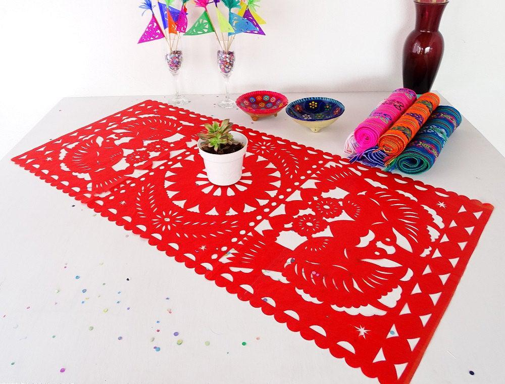 Mexican Party Supply, Papel Picado Paper Table Runner in 10 Colors