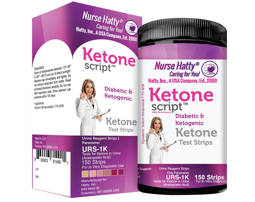 Nurse Hatty - Diabetic & Ketogenic Keto Strips – Fresh – USA-Made – High-Performance – Now Lasts 6 Months - 2-year Shelf Life (150ct. Long Ketone Test Strips)