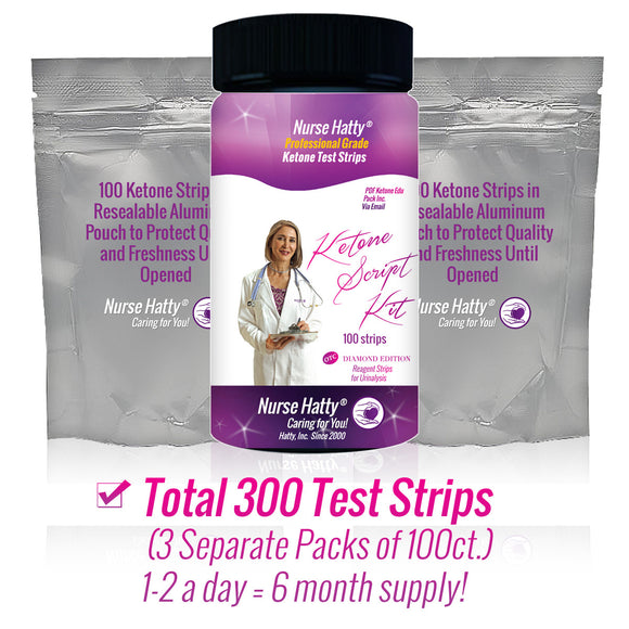 Nurse Hatty Ketone Strips KIT 300ct (3 Separate Packs of 100ct.) Professional Grade Ketone Test Strips to Benefit Your Ketogenic, Paleo and Atkins Diets + Packed Full PDF Keto eBook
