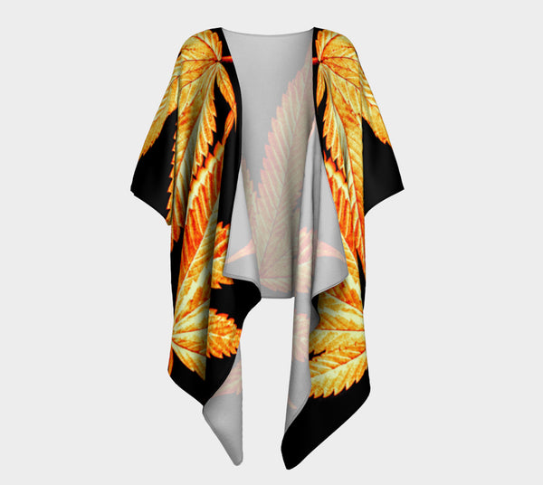 BLACK & GOLD CANNA LEAF // DRAPED KIMONO