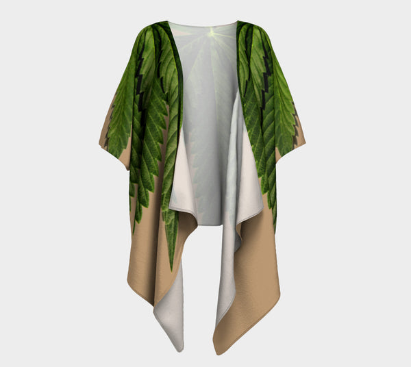 TAN & GREEN CANNA LEAF // DRAPED KIMONO