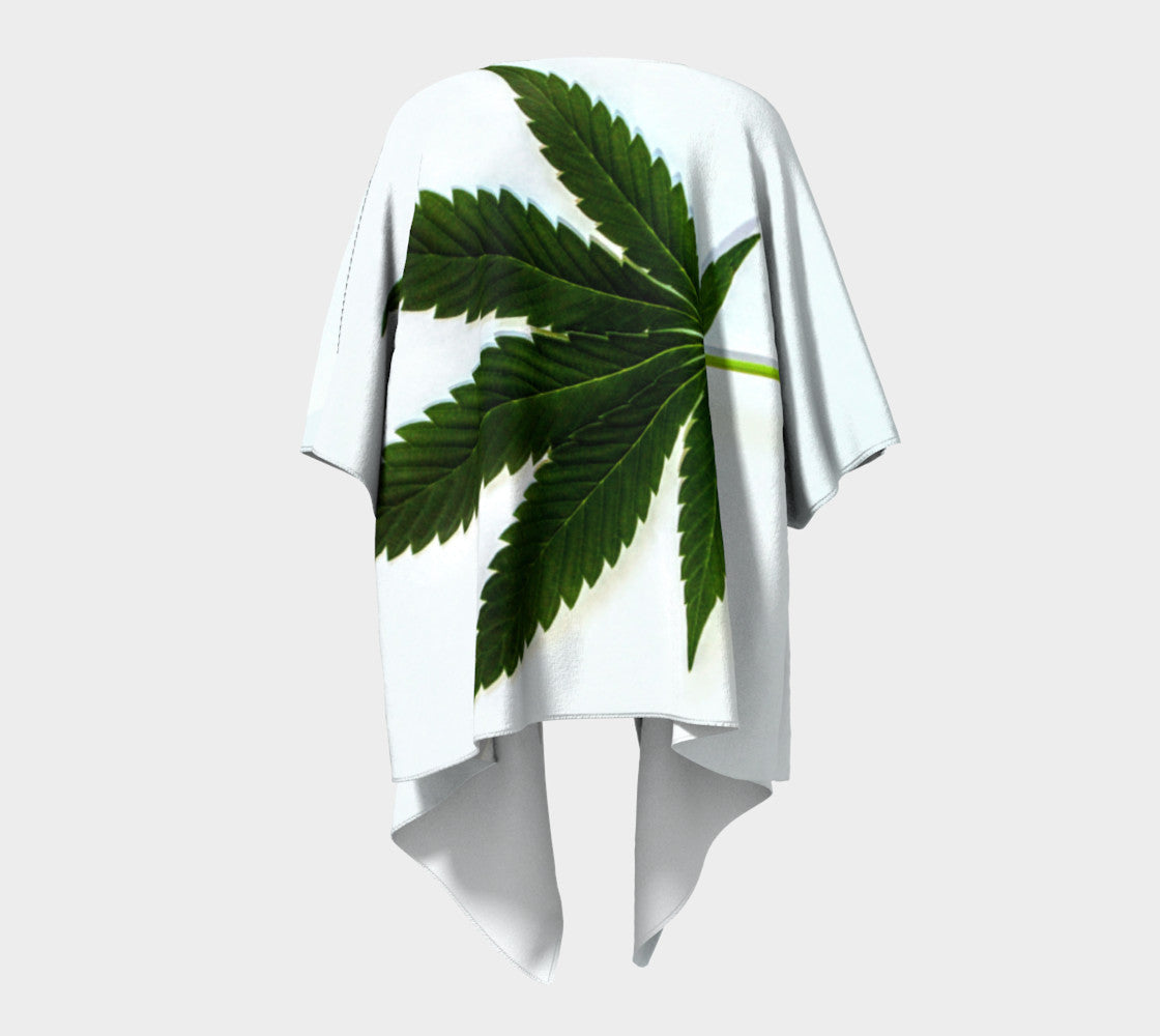 EMERALD ON ICE WHITE CANNA LEAF // DRAPED KIMONO
