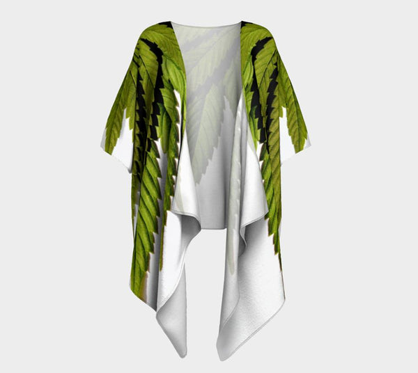 OLIVE & BLACK ON WHITE CANNA LEAF // DRAPED KIMONO