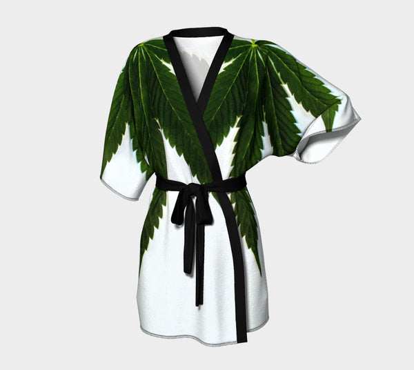 EMERALD ON ICE WHITE CANNA LEAF // KIMONO ROBE