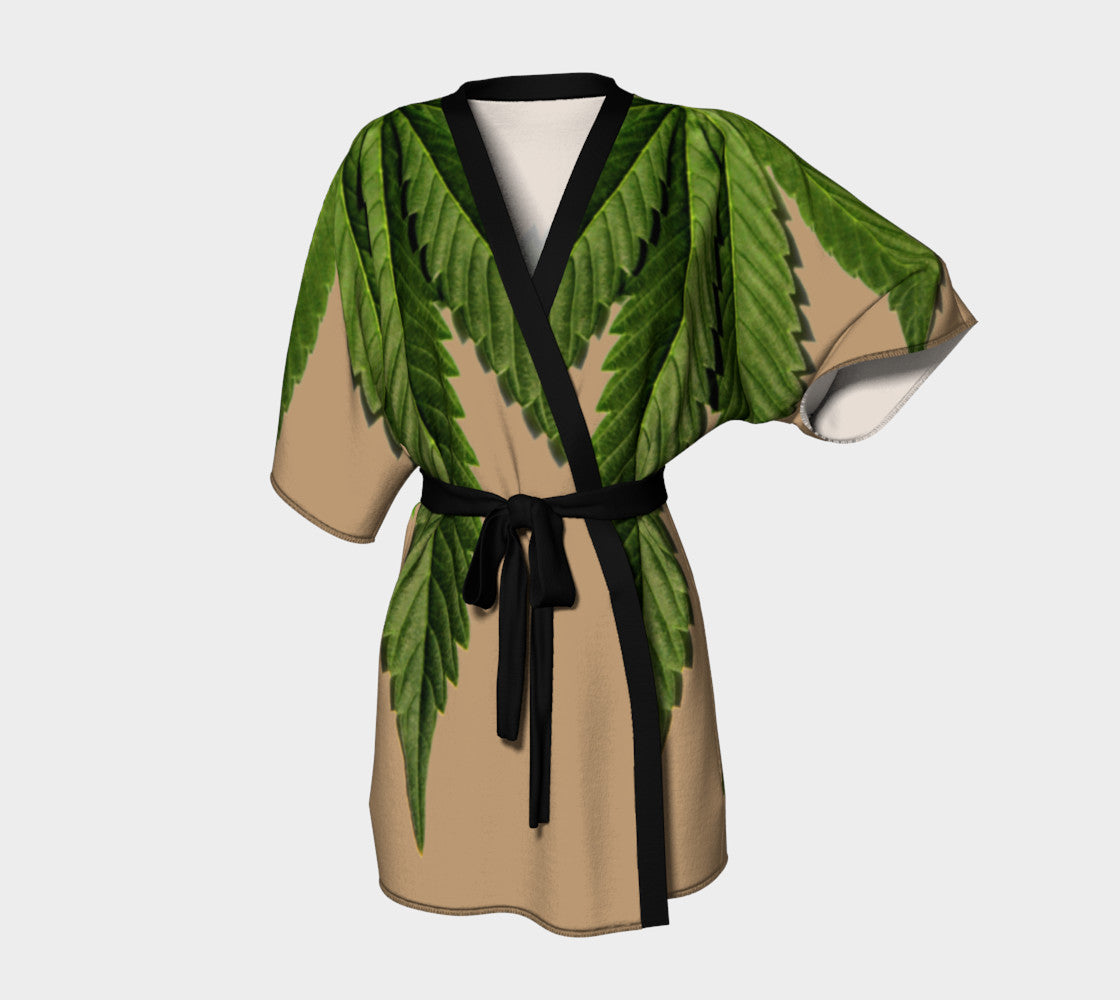 TAN   GREEN CANNA LEAF    KIMONO ROBE – STOLBIE BRAND 4f8f9be6f