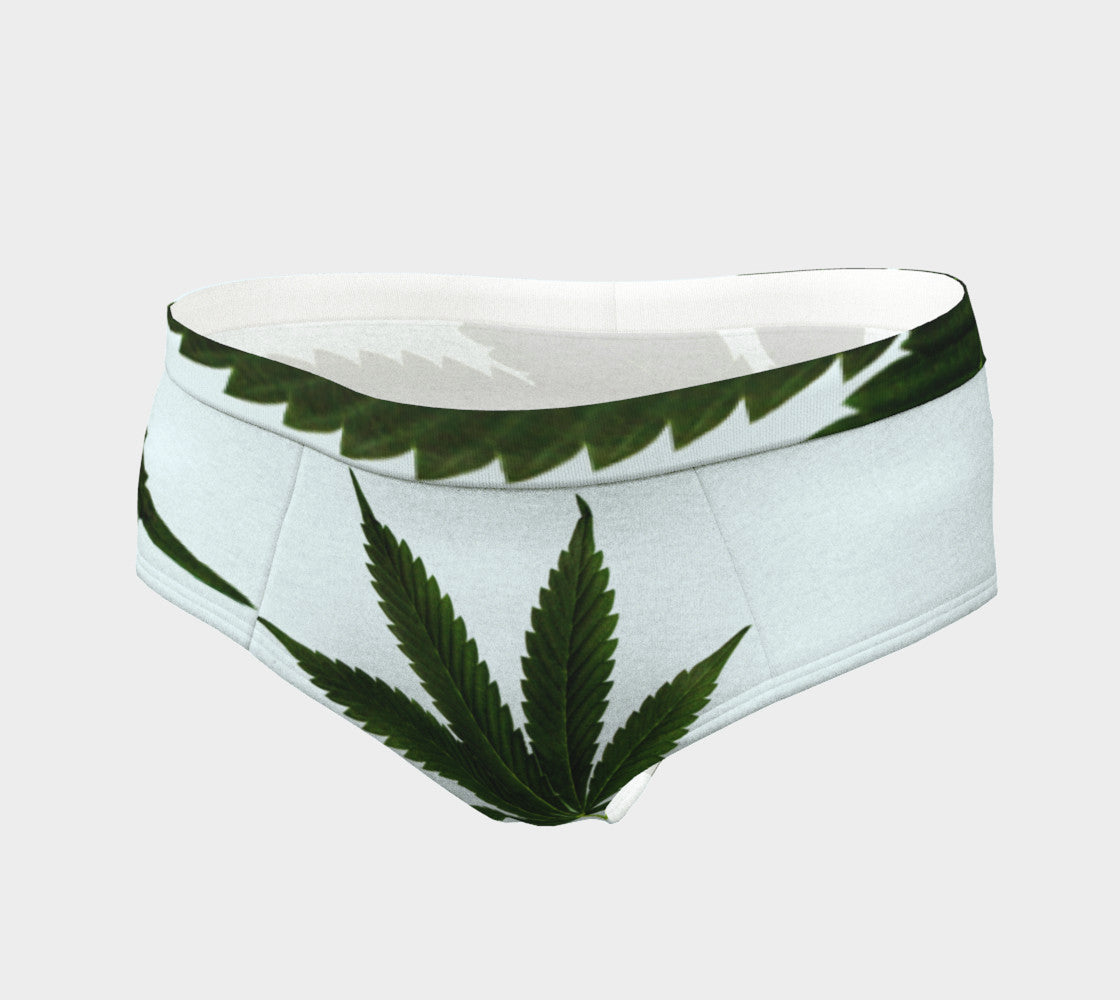 EMERALD ON ICE WHITE CANNA LEAF  // CHEEKY BRIEFS (WOMEN'S)