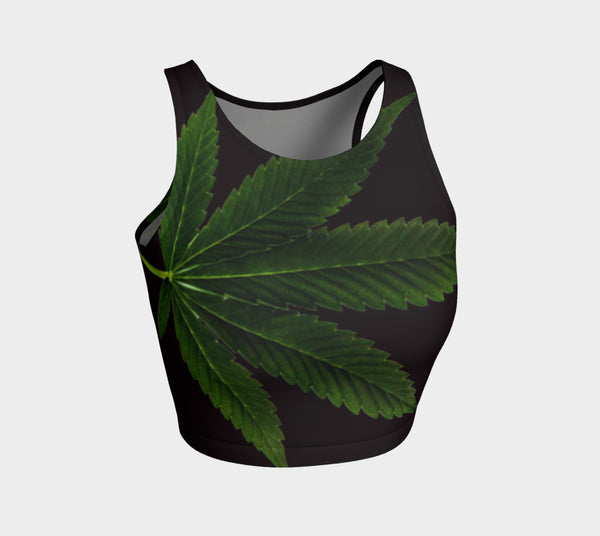 EMERALD GREEN & COFFEE CANNA LEAF // ATHLETIC CROP TOP
