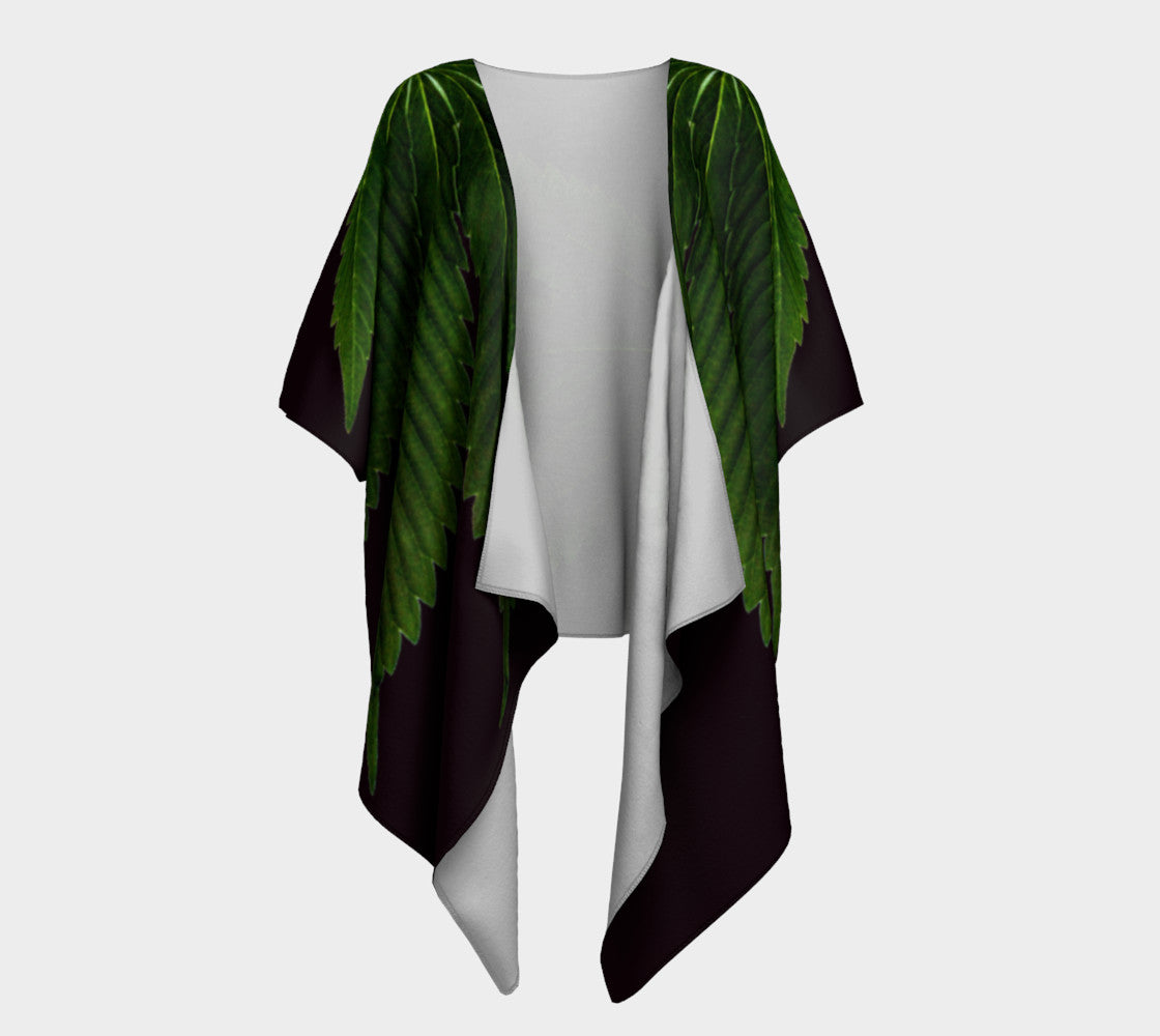 EMERALD GREEN & COFFEE CANNA LEAF // DRAPED KIMONO