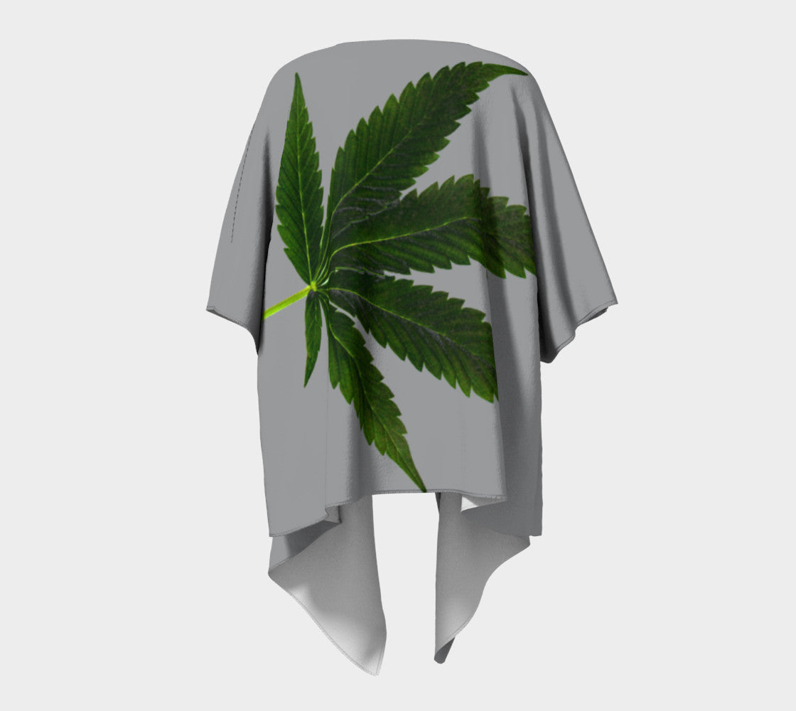 EMERALD GREEN & GREY CANNA LEAF // DRAPED KIMONO