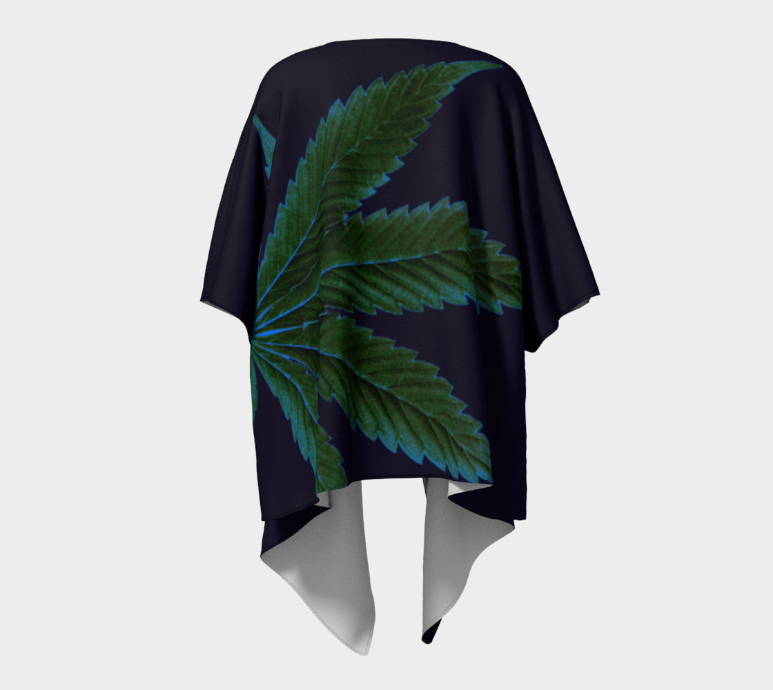 MIDNIGHT CANNA LEAF // DRAPED KIMONO