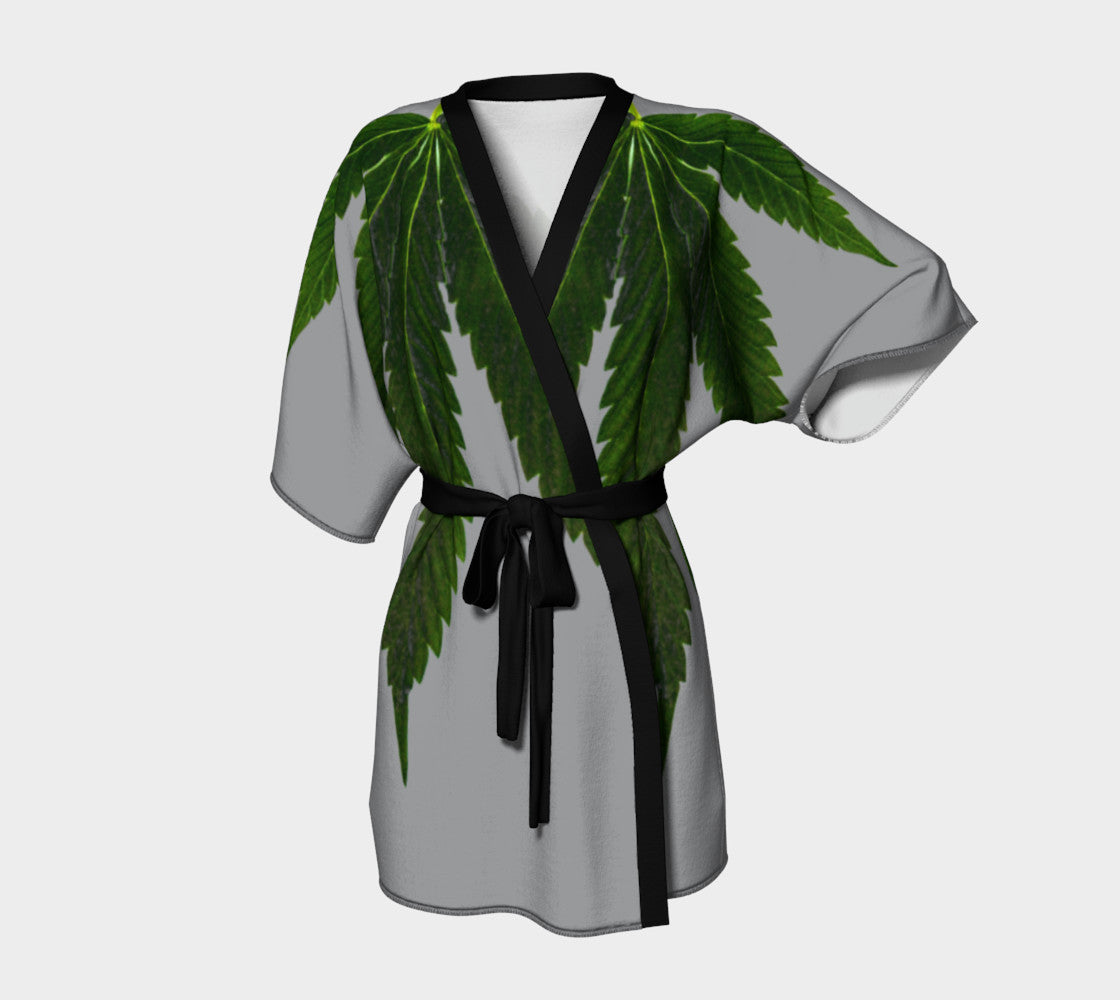 top-rated official reputable site preview of EMERALD GREEN & GREY CANNA LEAF // KIMONO ROBE