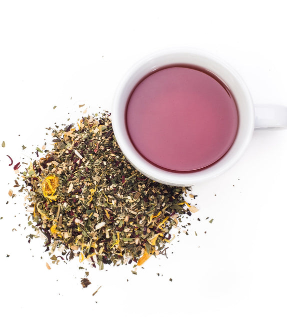 Immuni-Tea has powerful herbs that have been used for years to build and support the immune system, fight bacteria, promote healing, cleanse the lymphatic system, increase resistance to bronchitis, and detox and purify blood. Add this tea daily during cold and flu season for optimal health.  Flavor profile: Light ginger. Slight hibsicus taste.  Immuni-tea is caffeine free making it enjoyable at any time of the day.  Ingredients: Organic Echinacea Purpurea, Organic Nettle, Organic Olive Leaf, Organic Calendu