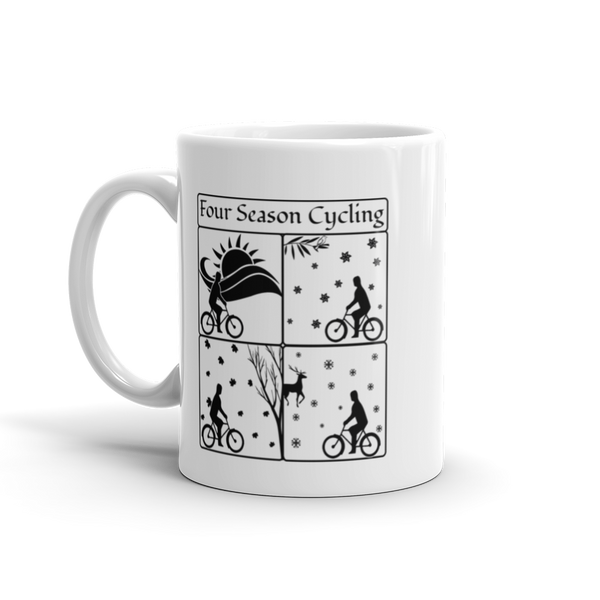 FOUR SEASON CYCLING White Glossy Mug, 11oz or 15 oz
