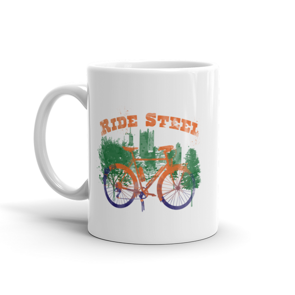 RIDE STEEL White Glossy Mug, 11oz or 15 oz