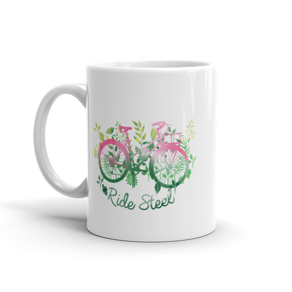 Women's RIDE STEEL White Glossy Mug, 11oz or 15 oz