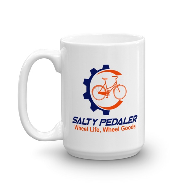 SALTY PEDALER Logo White Glossy Mug, 11oz or 15 oz