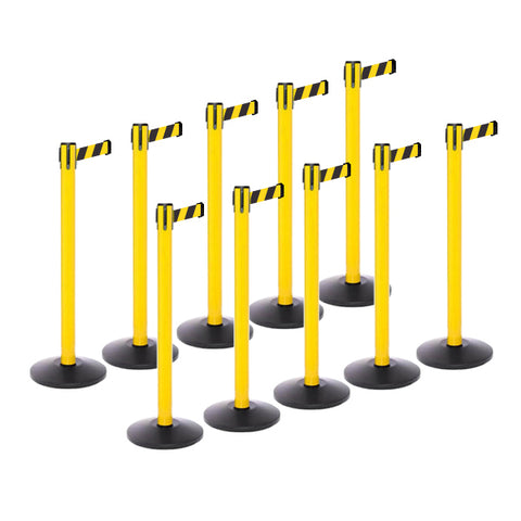 Safety Bundle: 10 Yellow Retractable Belt Barriers 11-13FT