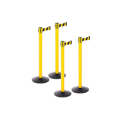 Safety Bundle: 4 Yellow Retractable Belt Barriers 11-13FT